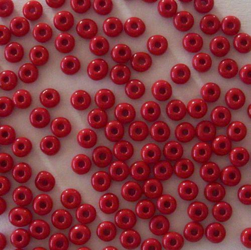 Skleněné korálky - rokajl 6/0 červený, sytý