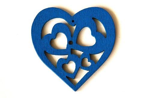 dřevěná srdíčka- modrá