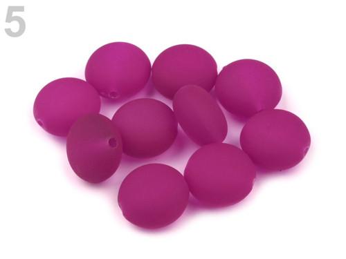 Korálky neon plast pr.17mm (10ks) - fialová