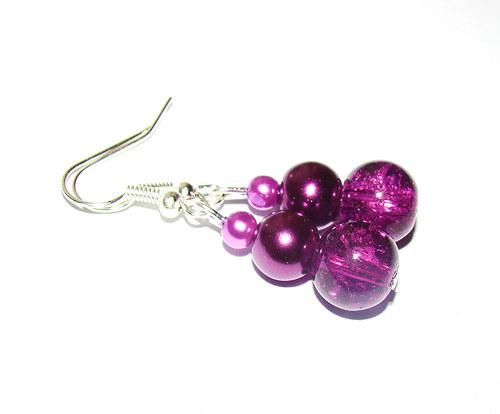 náušnice s perličkami fialové