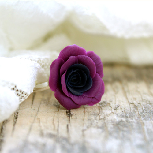 Růžička (fialovo-modrá) - prsten
