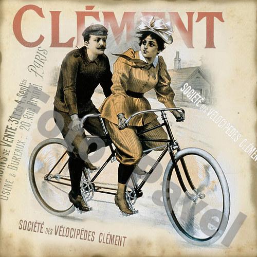 Vintage motiv - dáma na kole 2