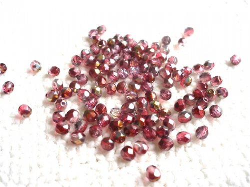 Broušené perle červenozlatý dekor
