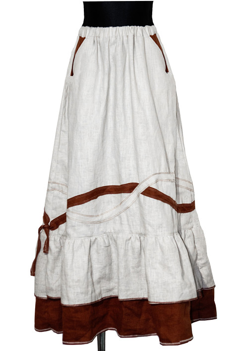 Boho maxi lněná sukně - dvoubarevná - AKCE