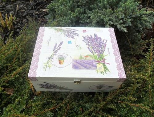 """Krabička na čaj \""""Levandule\"""" s bílou krajkou"""