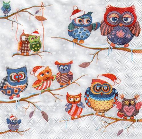 Papírový ubrousek,sovy v zimě,Vánoce,2ks
