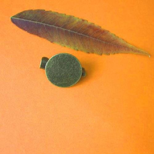 Brožový můstek s ploškou 15mm, starobronz, 3ks