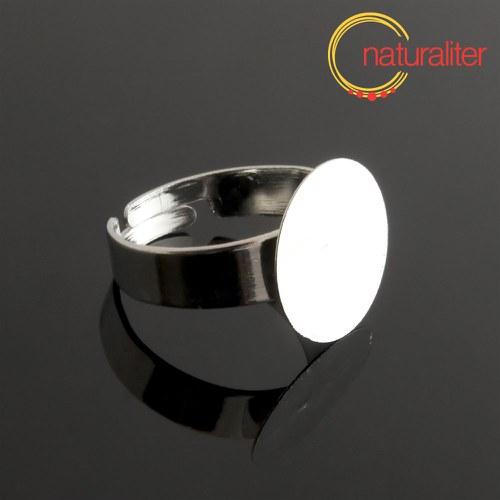 Základ na prsten s ploškou 15mm platinová barva