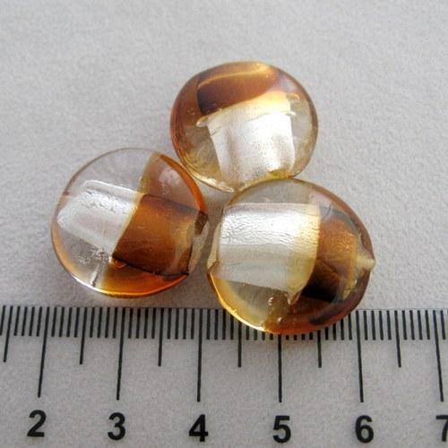vinutá perla čočka 20mm, white-dark topaz