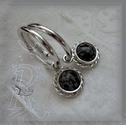 Vločkový obsidián ....kruhy 2,5 cm  s RH