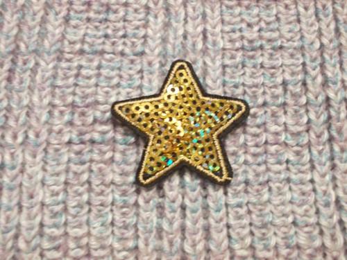 Nažehlovačka hvězda s flitry zlatá