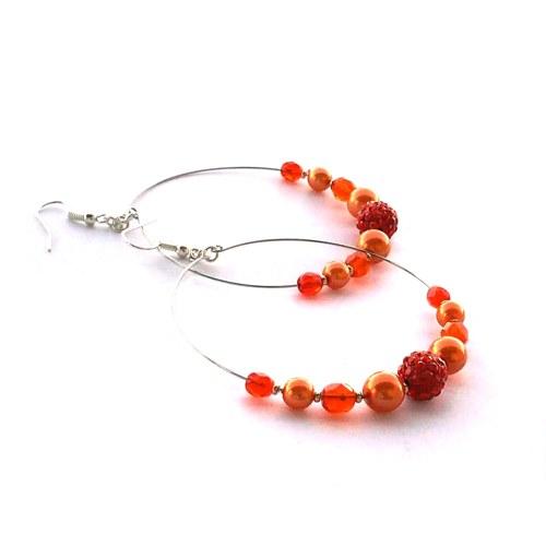 Oranžové třpytivé kruhy - náušnice