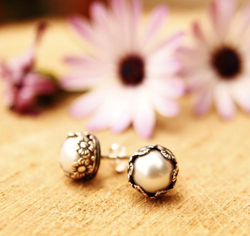 Pearl květiny puci (Ag 925, přírodní perly)