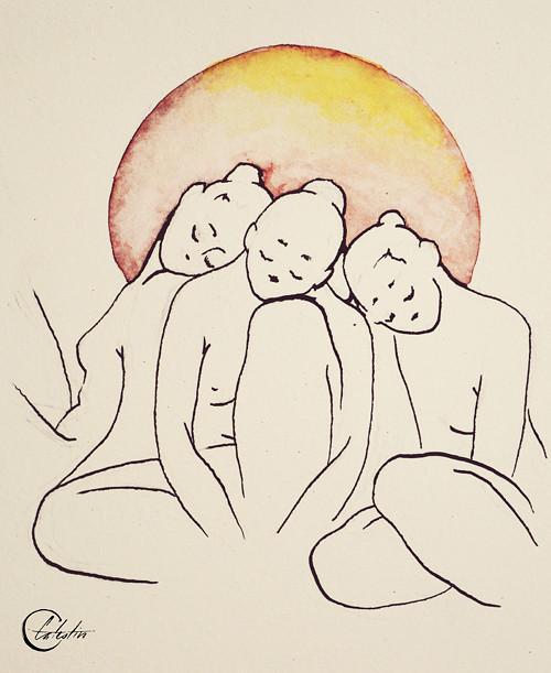 Tři sestry (perokresba, akvarel)