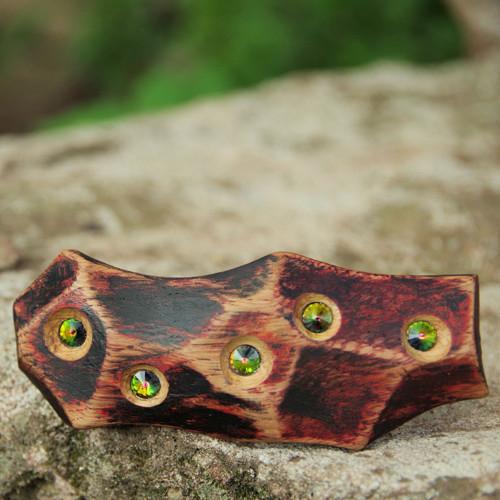Stromová světélka - dřevěná spona do vlasů