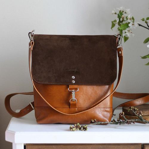 Kožený batoh Lara (koňakovo-tmavohnedý)