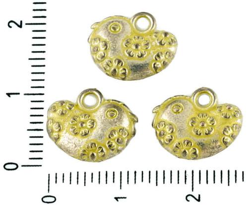 8ks české Žlutá Patina Antique Silver Tón Velikono