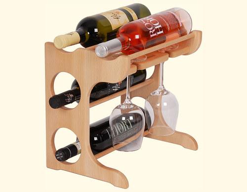 Dřevěná domácí vinotéka na 4 lahve