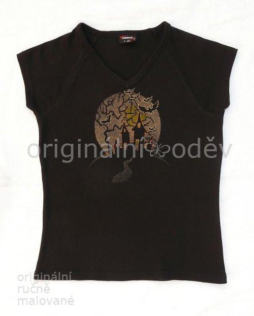 Malované tričko dámské - v noci - černé