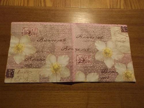 Ubrousek na decoupage - květinové psaní