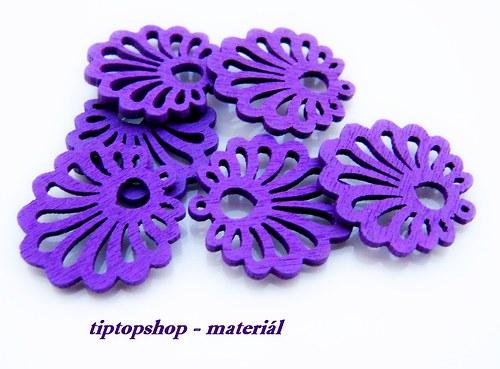 DOPRODEJ - Dřevěné filigrány mušle, fialové (6ks)
