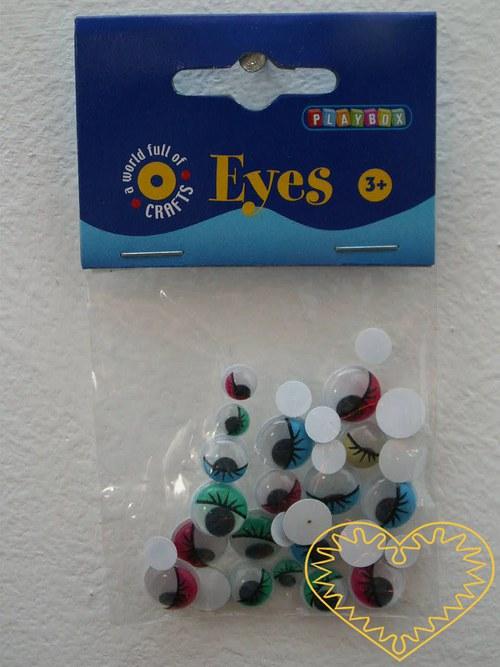 Barevné pohyblivé oči s víčky a řasami - 30 kusů