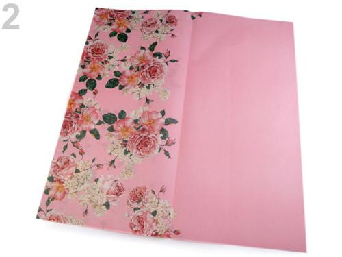 Balicí/dekorační papír 58x59 cm(4ks)-růžová sv.