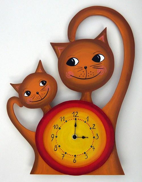 Dřevěné ručně malované hodiny - Kočky