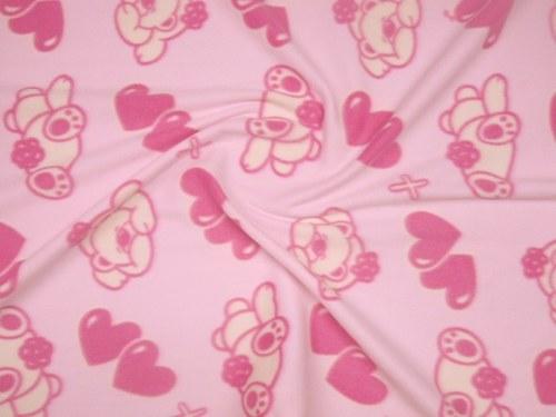 19112-med Fleece světle růžový- medvídci/srdce 1m