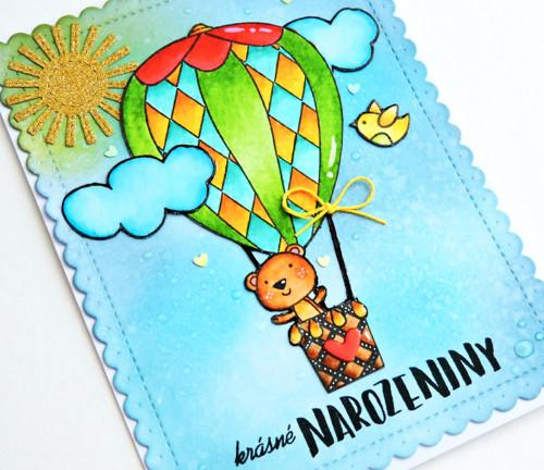 roztomilé přání  - medvídek a balón