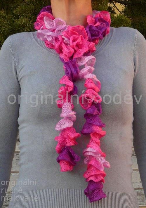 lehká volánová šálka - růžová - ZLEVNĚNO