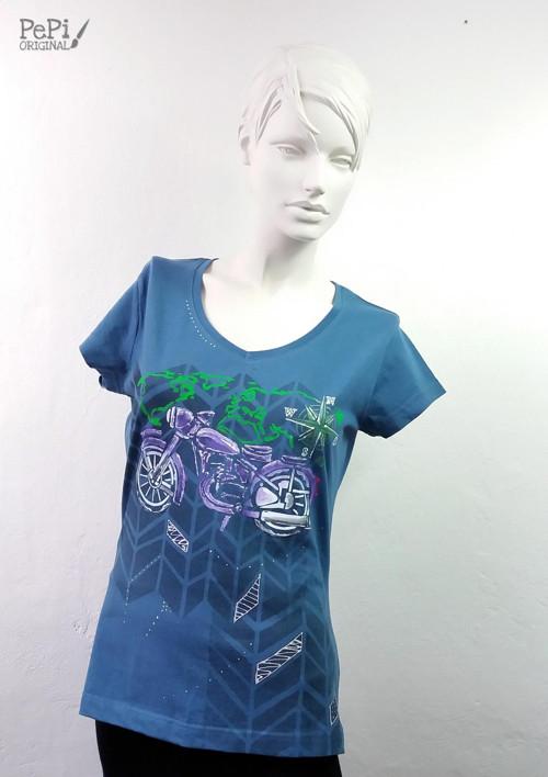 """Malované tričko \""""Motorka\"""""""