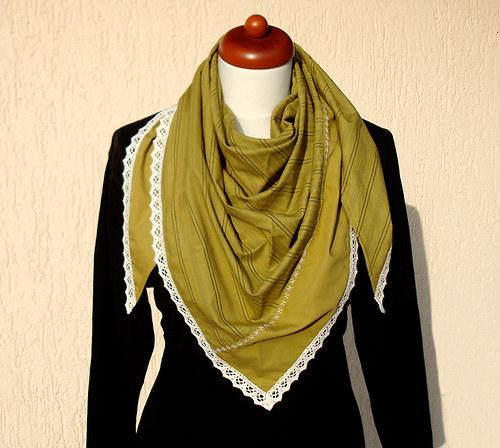Olivový bavlněný šátek