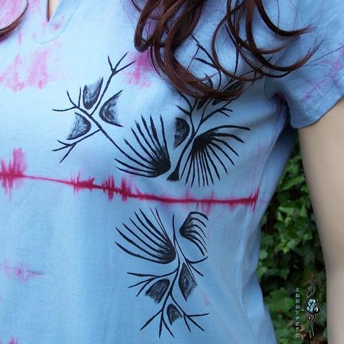 Batikované tričko s obrázkem-SLEVA