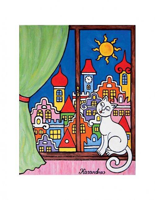 Magnetka - Kočka na okně - zelený závěs