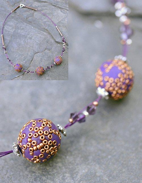Náhrdelník fialový korálky Fimo N0036V
