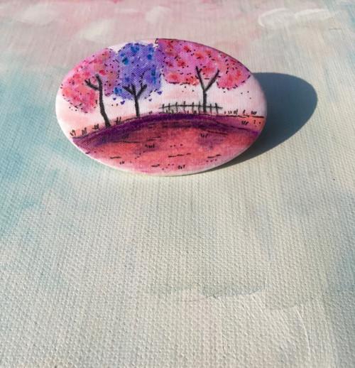 Textilní brože/placky - Rozkvetlé stromy