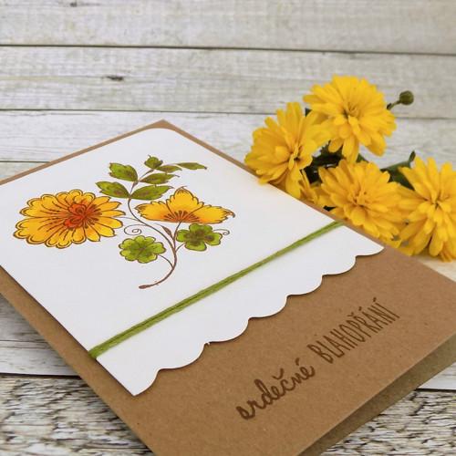 přání No.86, žlutá květina