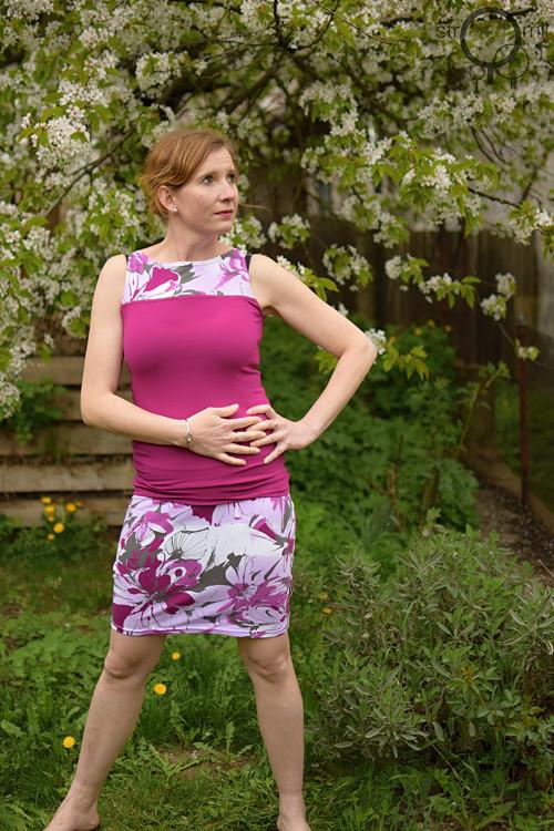 Sukénka růžová květovaná, vel. XL-XXL