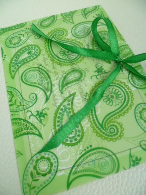 zelené svatební oznámení,pergamenový papír kašmír