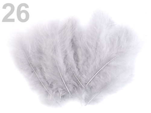 Pštrosí peří d.12-17 cm - šedá nejsv.