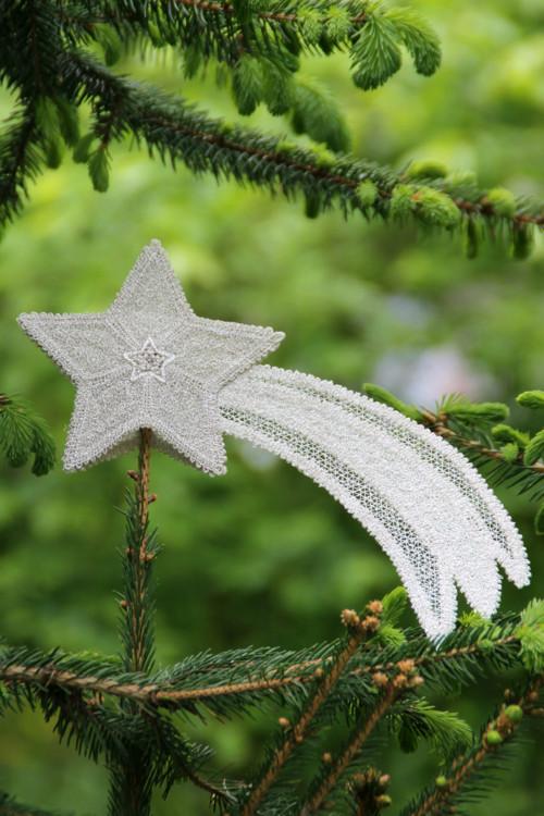Vánoční hvězda - kometa - celostříbrná