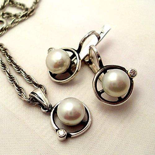 Souprava «Afrodita» - bílá perla, stříbro 925/1000