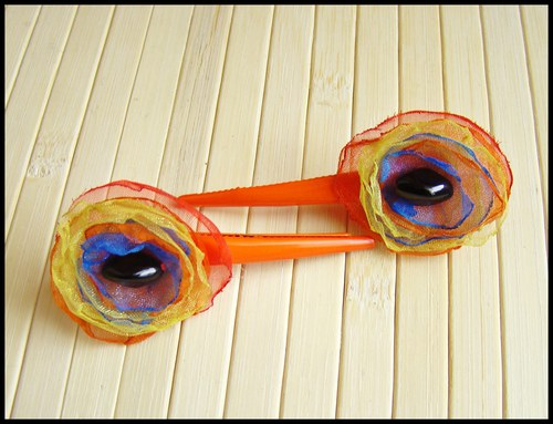 SLEVA - 2 kytičkaté klipsny - Oko páva