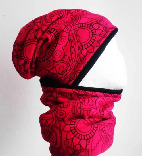 Čepice jaro/podzim ornamenty růžové/černá