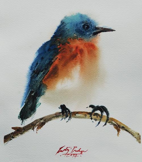 Modrý ptáček,originální akvarel