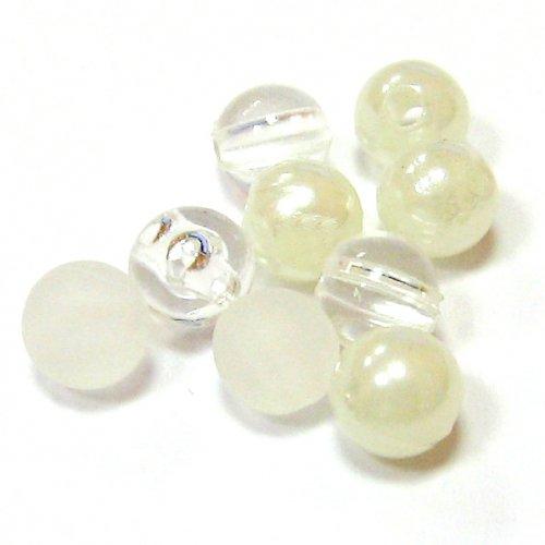 Směs perel a korálků - bílá - 50 ks