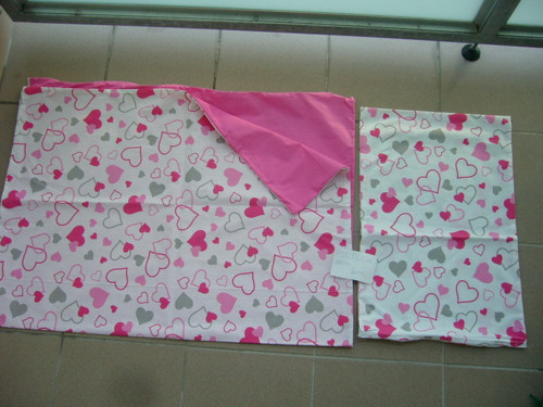 povlečení dětské 130x90 , 60x40  růžové srdíčka