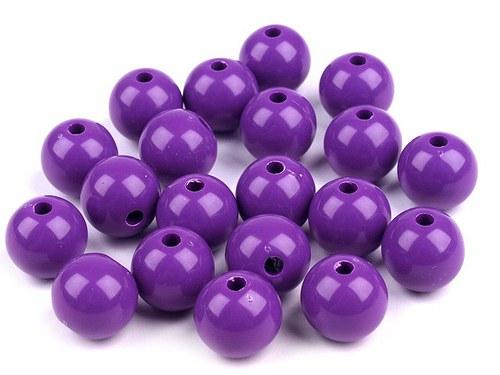 Plastové korálky 12mm kulička / fialová (10ks)