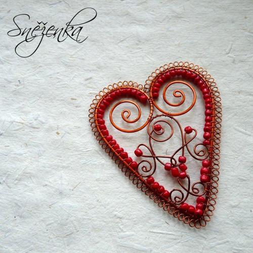 Folklorní srdce velké I - drátovaná ozdoba